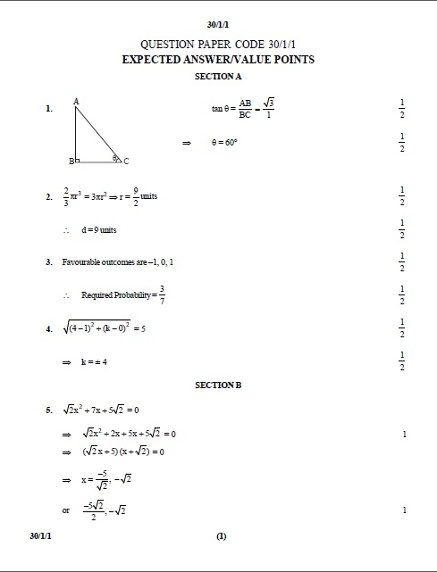 Year 10 Maths Test Papers With Answers