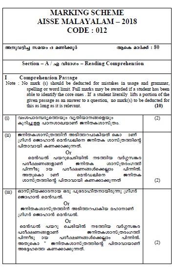 CBSE Class-10 Exam 2018 : Marking Scheme, Malayalam | CBSE