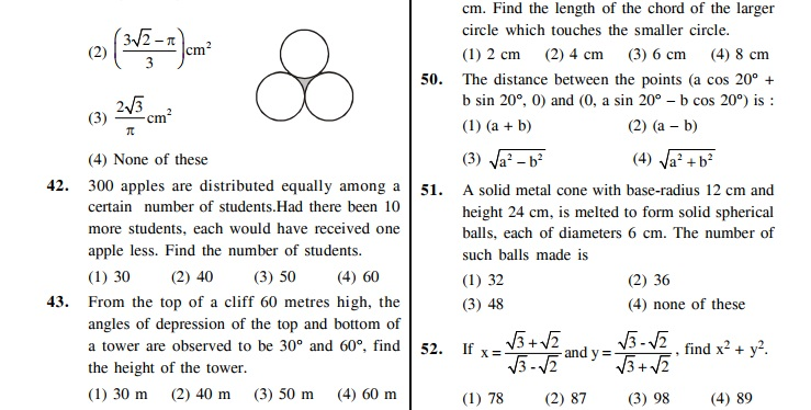 NTSE Sample Questions : Stage-II Scholastic Aptitude Test