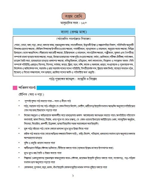 West Bengal Board Secondary Syllabus (Bengali) Class-VII
